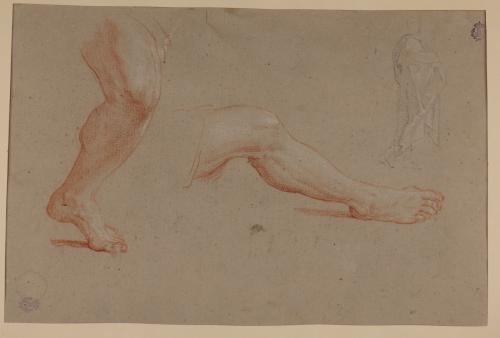 Estudio de piernas y ligero apunte de figura en pie