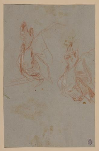 Estudios de ropaje sobre un brazo en actitud de bendecir para el retrato de Clemente XI