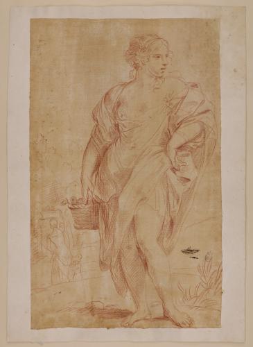 Estudio de figura femenina en pie con un cesto en la mano