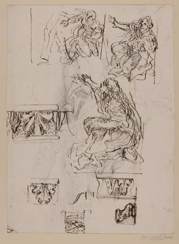 Estudio de figura femenina en diversas actitudes yde elementos decorativos clásicos