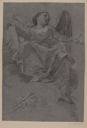 Estudio de ángel sentado sobre una nube sujetando un libro y estudio de mano