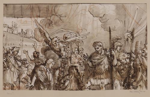 Estudio compositivo de un milagro de un santo a unos soldados romanos