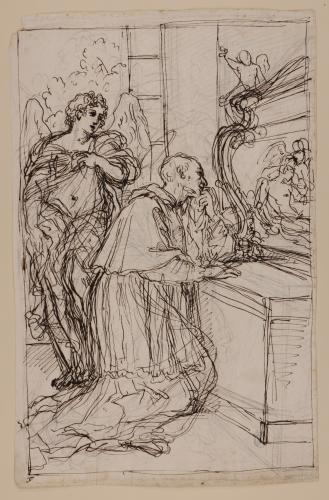 Estudio de santo (Carlos Borromeo?) arrodillado en oración junto a un ángel ante la tumba de Jesucristo