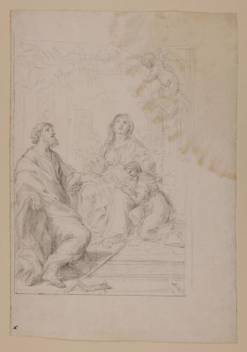 Estudio de la Virgen niña con san Joaquín y santa Ana