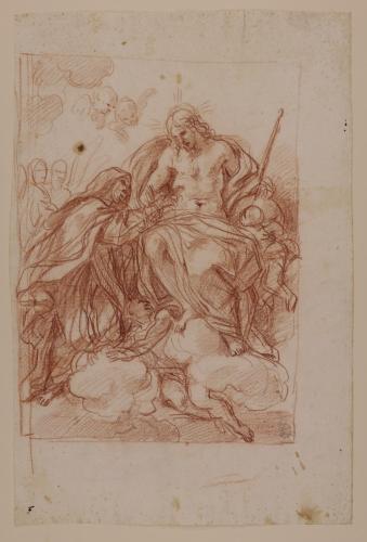 Estudio de monja santa introduciendo sus dedos en la llaga del costado de Cristo