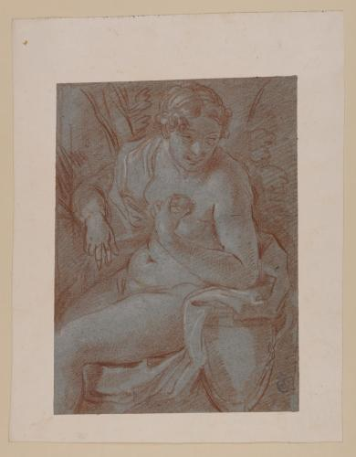 Estudio de figura femenina desnuda sentada