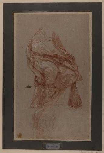 Estudio de capa pluvial sobre figura  (San Ambrosio?) y apunte de cabeza masculina barbada