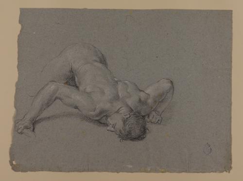 Estudio de hombre desnudo caído