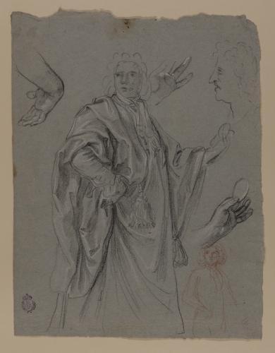 Estudio de rostro de perfil, manos, caballero en pie y ligero apunte para la misma figura