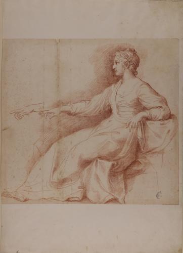 Estudio de figura femenina sentada de perfil