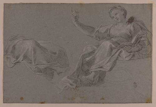 Figura femenina sentada con un libro y estudio de ropaje sobre figura