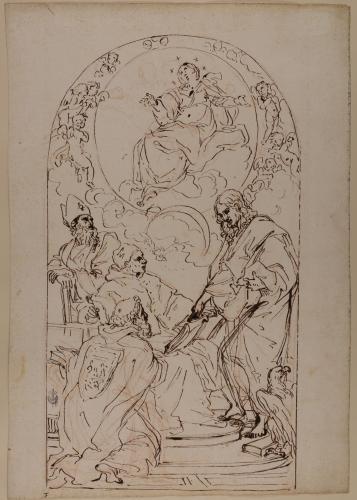 Estudio de la Inmaculada con San Juan, San Gregorio, San Juan Crisóstomo y San Agustín
