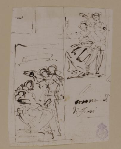 Dos apunte de figura sentada coronada por otra en pie