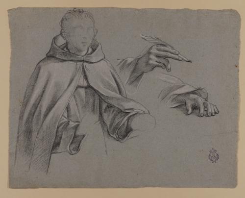 Estudio de media figura de monje y dos manos