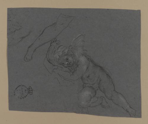 Estudio de figura de amorcillo o ángel niño y pierna