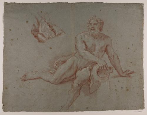 Estudio de divinidad fluvial (Apidanus) para Apolo y Dafne
