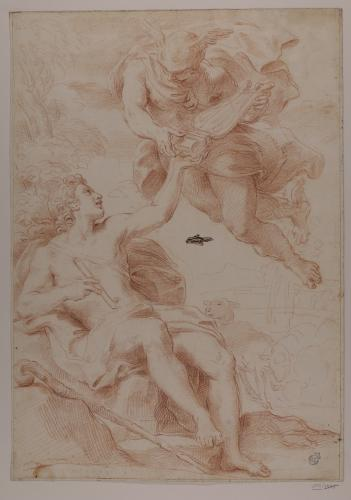 Estudio de Mercurio-Hermes entregando la lira a Orfeo