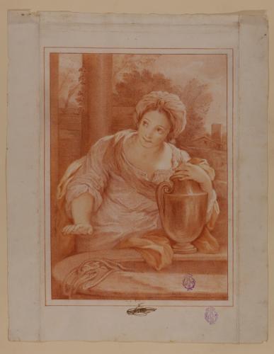 Estudio de figura femenina con un ánfora, junto a un pozo