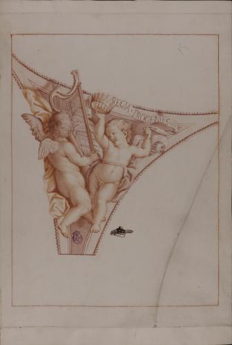 Estudio para pechina de dos ángeles portadores de corona, arpa y filacteria con la inscripción