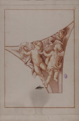 Estudio para pechina de dos ángeles portadores de un cesto con palomas y filacteria con la inscripción