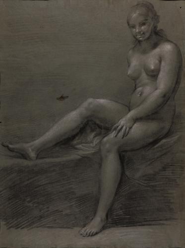 Estudio de desnudo femenino sentado
