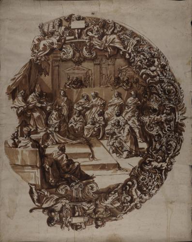Estudio para el plato de San Juan: el Papa Pio V corona a Cosme I como Granduque de Toscana