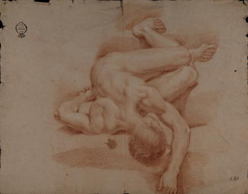 Estudio de modelo masculino desnudo tumbado en escorzo