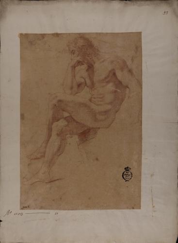 Estudio modelo masculino desnudo sentado de perfil  hacia la izquierda en actitud de reflexión