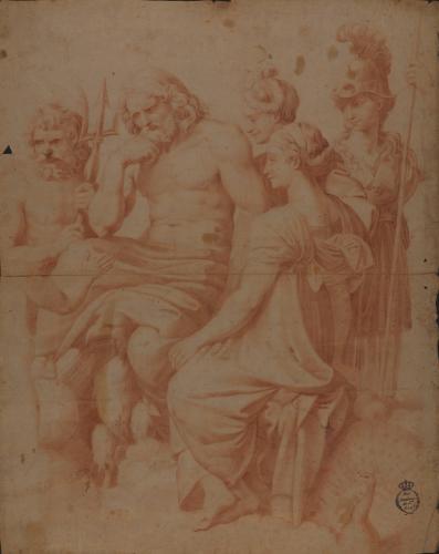Estudio parcial del Concilio de los Dioses o Psique recibida en el Olimpo