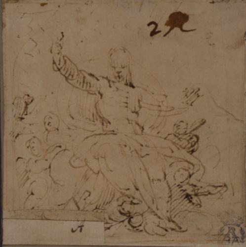 Estudio de mujer sentada rodeada de angelitos