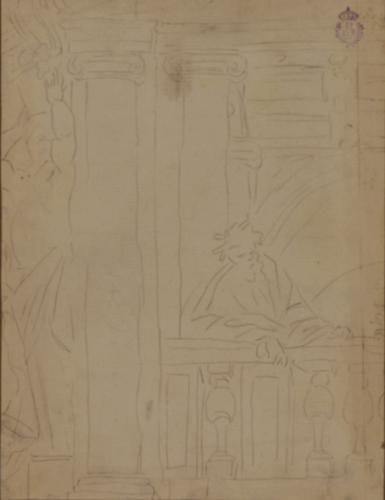 Estudio de figura apoyada en una balaustrada