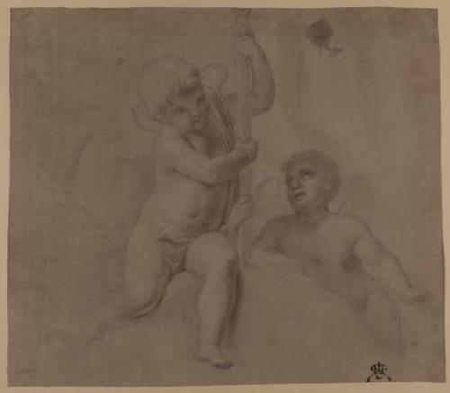 Estudio de dos ángeles niños, uno ellos sosteniendo la cruz