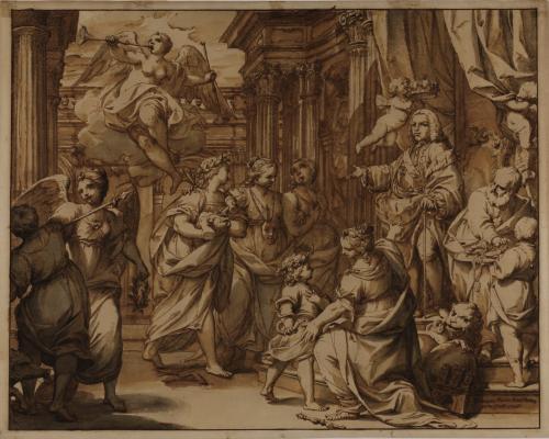 Estudio de Fernando VI protegiendo a las Artes