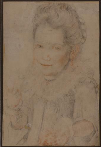 Estudio para el retrato de niña de tres cuartos con un pastel