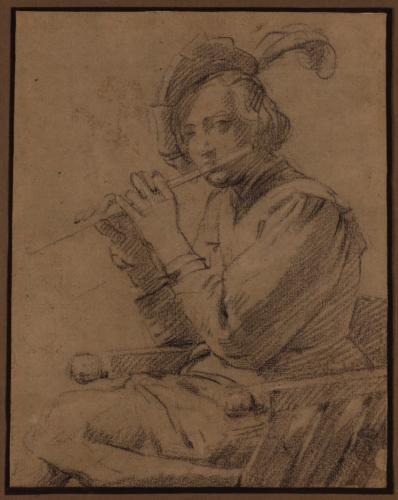 Estudio de un muchacho flautista con gorra sentado de perfil hacia la izquierda