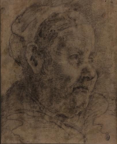Estudio de cabeza de anciana con cofia de tres cuartos hacia la derecha
