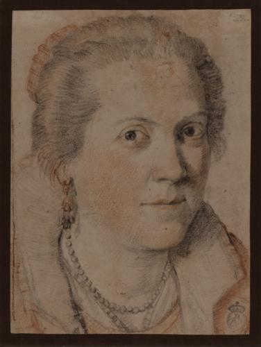 Estudio para retrato de mujer de tres cuartos hacia la derecha
