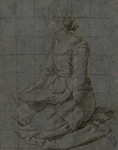Estudio de mujer arrodillada de tres cuartos con un plato hacia la izquierda