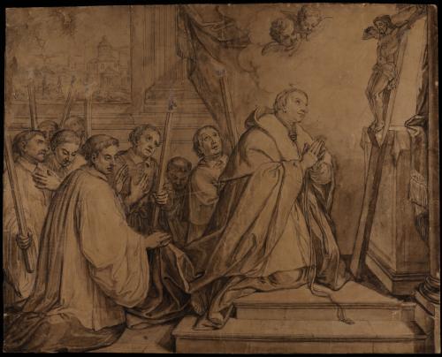 Estudio de San Carlos Borromeo en oración durante la gran peste de Milán