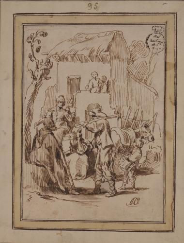 Estudio de campesinos, mujeres y niño con un cesto
