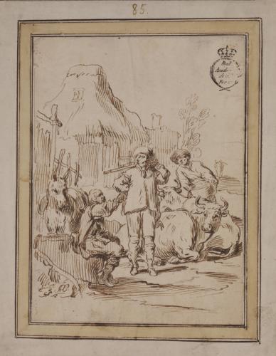 Estudio de cazador con campesinos