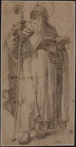 Estudio de un santo anacoreta (¿San Antonio Abad?)