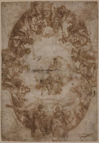 Estudio de la apoteosis de Hércules rodeado por los dioses del Olimpo