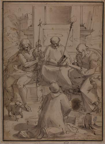 Estudio de San Juan Bautista, San Benito, San Lucas y un monje arrodillado