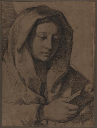 Estudio de Virgen leyendo de tres cuartos hacia la derecha