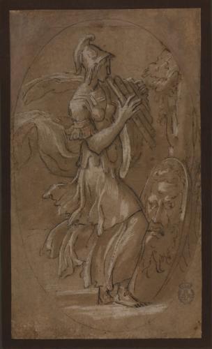 Estudio de Minerva tocando una siringa