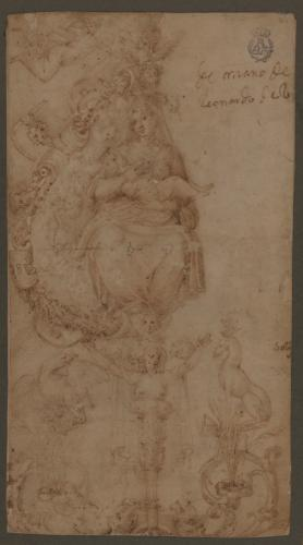 Estudio de la Virgen con el Niño y diversos elementos decorativos