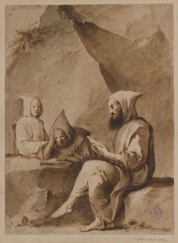 Estudio de tres monjes leyendo