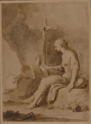 Estudio de Magdalena penitente sentada hacia la izquierda