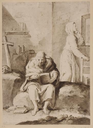 Estudio de ermitaño sentado leyendo y una mujer de pie